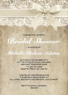 vintage bridal shower invitation antique lace