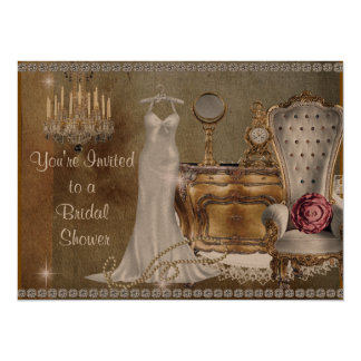 VINTAGE BRIDAL SHOWER INVITATION FAUX Wallpaper