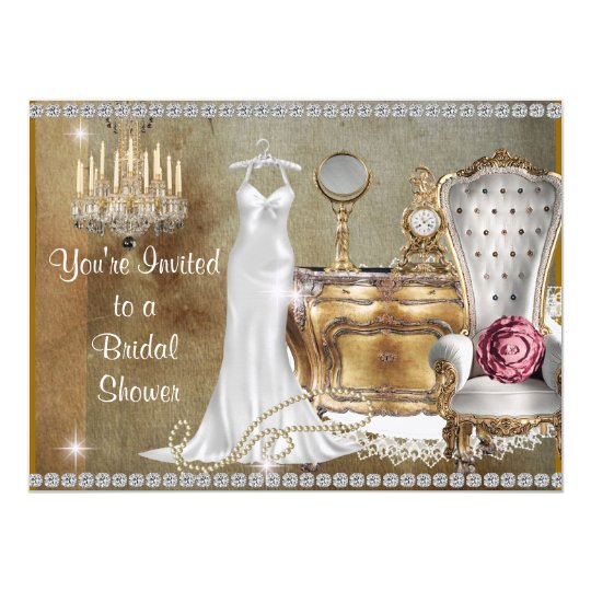 VINTAGE BRIDAL SHOWER INVITATION FAUX Wallpaper