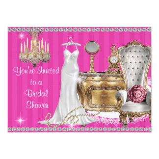 VINTAGE BRIDAL SHOWER INVITATION Hot Pink WALLPAPE