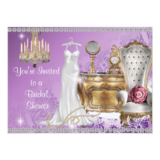 VINTAGE BRIDAL SHOWER INVITATION LAVENDER DAMASK W