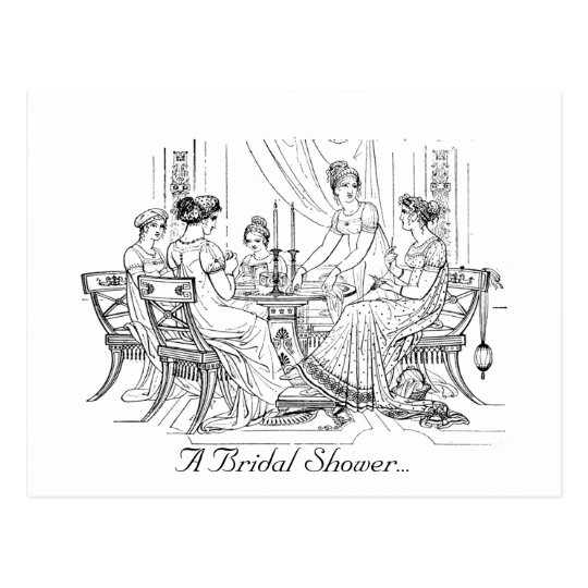 Vintage Bridal Shower Invitation Postcard