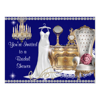 VINTAGE BRIDAL SHOWER INVITATION ROYAL BLUE