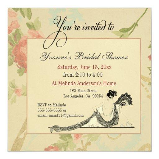 Vintage bridal shower invitation template zazzle for Classic bridal shower invitations