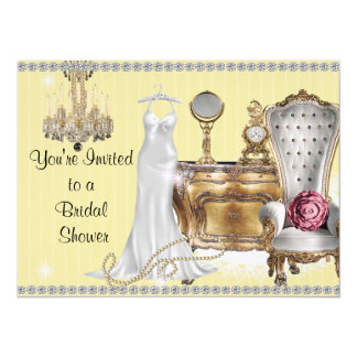 VINTAGE BRIDAL SHOWER INVITATION Yellow Wallpaper
