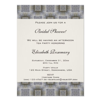 Vintage Bridal Shower, Metallic Squares Stripes 5.5x7.5 Paper Invitation Card