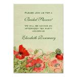 Vintage Bridal Shower, Red Poppy Flower Floral Personalized Invitation
