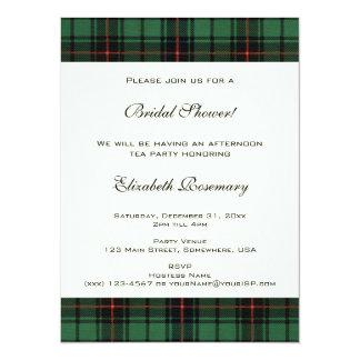 Vintage Bridal Shower, Tartan Davidson Pattern 5.5x7.5 Paper Invitation Card