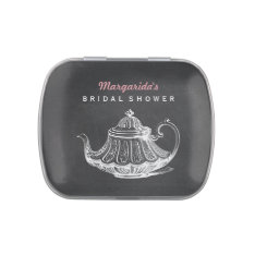 Vintage Bridal Shower Tea Party Favors Chalkboard Jelly Belly Candy Tin at Zazzle