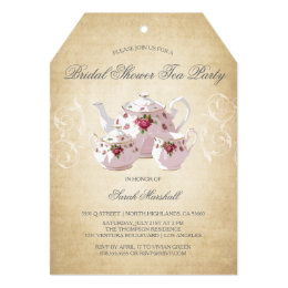 Bridal shower tea party invitations announcements zazzle vintage bridal shower tea party invitation filmwisefo Images