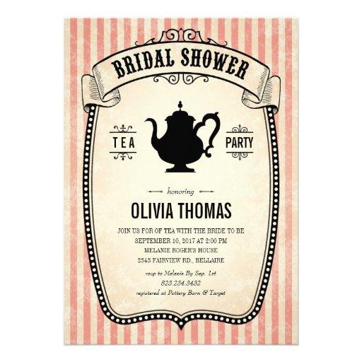 Vintage bridal shower tea party invitations 5 x 7 for Classic bridal shower invitations