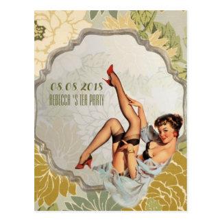 vintage Bridal Shower Tea Party save the date Postcard