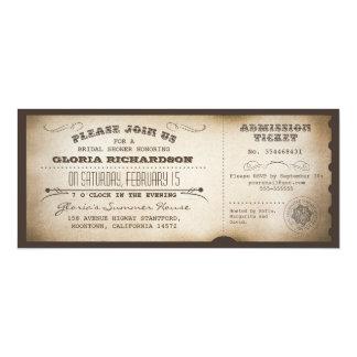 vintage bridal shower ticket typography design card