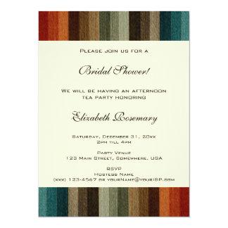 Vintage Bridal Shower, Warm Autumn Stripes 5.5x7.5 Paper Invitation Card