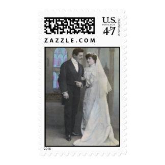 Vintage Bride and Groom 2 Postage