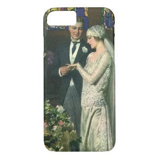 Vintage Bride and Groom, Church Wedding Ceremony iPhone 8/7 Case