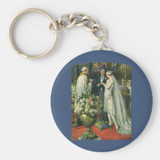 Vintage Bride and Groom, Church Wedding Ceremony Keychain