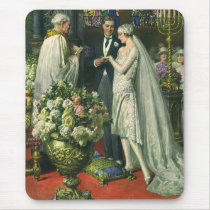 Vintage Bride and Groom, Church Wedding Ceremony Mouse Pad