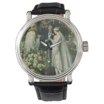 Vintage Bride and Groom, Church Wedding Ceremony Wrist Watch
