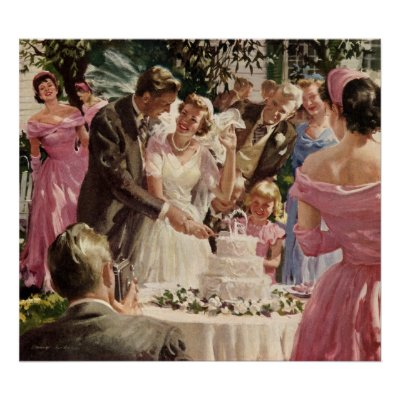 Vintage Bride and Groom Cutting the Cake Print by YesterdayCafe