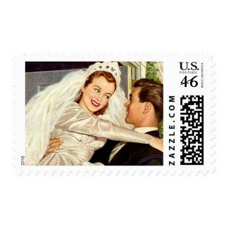Vintage Bride and Groom; Happy Newlyweds stamp