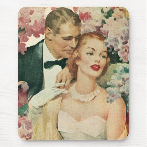 Vintage Bride and Groom Newlyweds and Flowers Mousepad