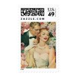 Vintage Bride and Groom Newlyweds and Flowers Stamp