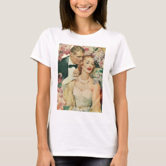 Vintage Bride and Groom Newlyweds and Flowers T-Shirt