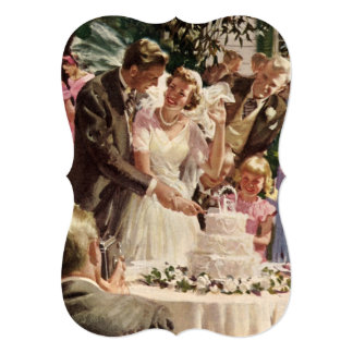 Vintage Bride and Groom Newlyweds Cut Their Cake 5x7 Paper Invitation Card