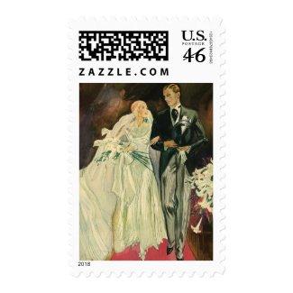 Vintage Bride and Groom; Newlyweds stamp