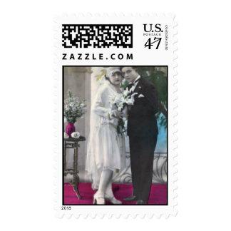 Vintage Bride and Groom Postage