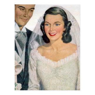 Vintage Bride and Groom Postcard