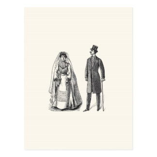 Vintage Bride and Groom Reply Postcard