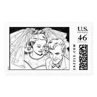 Vintage Bride and Groom Stamps