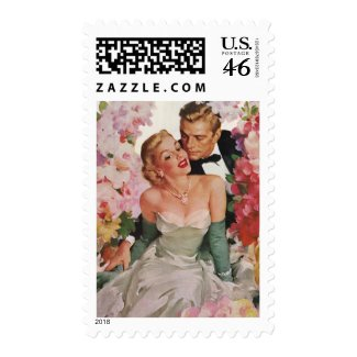 Vintage Bride and Groom Surrounded by Flowers stamp