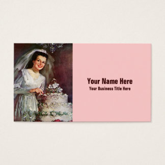Vintage Bride and her Wedding Cake - 50's Business Card