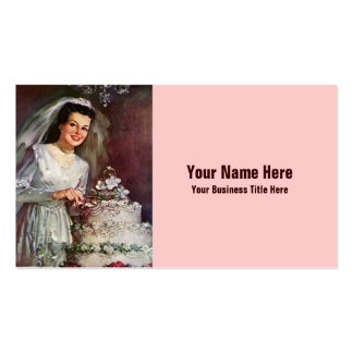 Vintage Bride and her Wedding Cake - 50's Business Card Templates