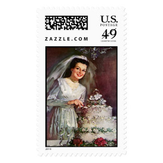 Vintage Bride and her Wedding Cake - 50's Stamps