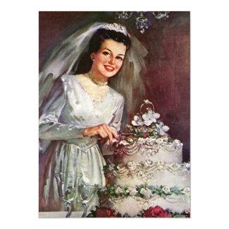 Vintage Bride and Her Wedding Cake Card