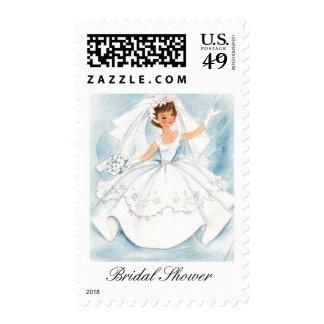Vintage Bride Bridal Shower Stamps Postage