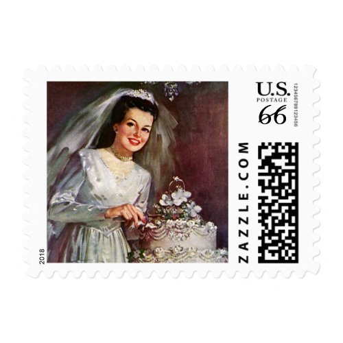 Vintage Bride Cutting the Cake stamp