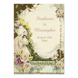 Vintage Bride & Groom Chic Romantic Wedding Card