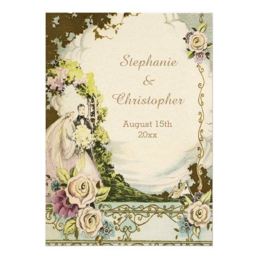 Vintage Bride & Groom Chic Romantic Wedding Invites