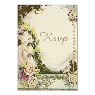 Vintage Bride & Groom Chic Romantic Wedding RSVP Card