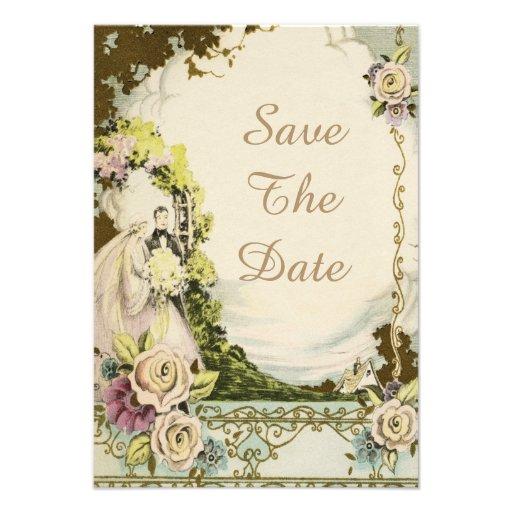 Vintage Bride & Groom Chic Wedding Save The Date Custom Invite