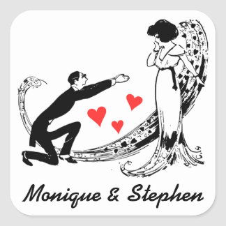 Vintage Bride, Groom Personalized Wedding Sticker Square Sticker