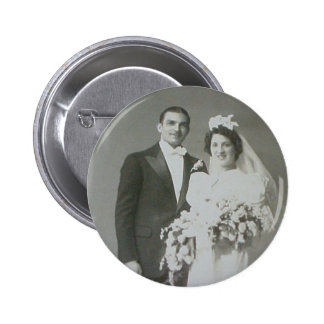 Vintage Bride & Groom Romantic Wedding Photography Button