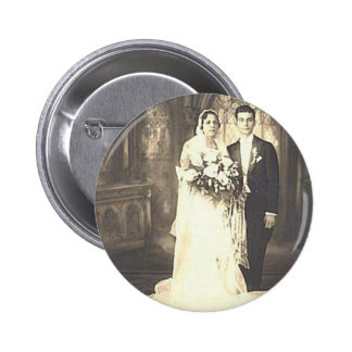 Vintage Bride & Groom Romantic Wedding Photography Pinback Button