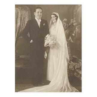 Vintage Bride & Groom Romantic Wedding Photography Postcard