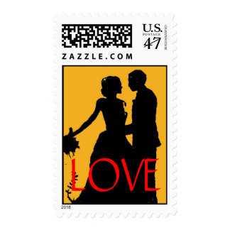 Vintage Bride Groom Silhouette Love Wedding Stamp